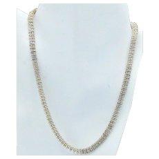 Sterling Silver Diamond Illusion Bead Set 14K Gold Vermeil Link Necklace