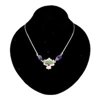 Artisan Amethyst Chrysoprase Sterling Silver Revival Style Pendant Necklace
