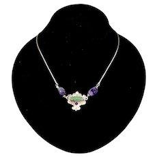 Artisan Amethyst Chrysoprase Sterling Silver Revival Style Pendant Necklace