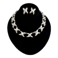 Mexico Sterling Silver Modernist Jumbo Kiss Link Necklace