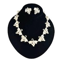 Chunky Taxco, Mexico Embossed Sterling Silver Grape Cluster Necklace Earrings
