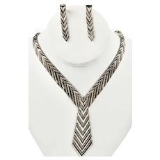 Modernist Taxco Mexico Sterling Silver Chevron Weave Necklace & Earrings