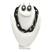 Sterling Multi-Strand Onyx, Hematite Torsade Necklace Earrings Set