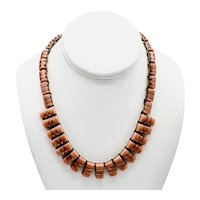 Mexico Modernist Sterling Silver Inlaid Banded Salmon Agate Necklace