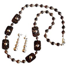 "Mexico Handcrafted 30"" Brecciated Jasper Sterling Bead Necklace Set"