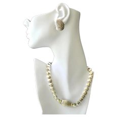 Lagos Caviar Necklace Set Sterling Silver 18K Gold Accent Coin Pierced Earrings