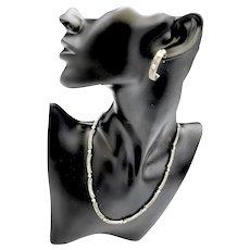 Judith Jack Marcasite Bezel Set Crystal Station Necklace Earrings