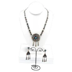 Rare Taxco Mexico Sterling Silver, Turquoise, Coral Inlaid Artisan Necklace Set