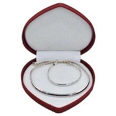 Italy Sterling Bracelet Set Mirror Diamond Cut Panels Vintage Milor
