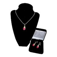 Sterling  Ruby Gemstone Ginkgo Leaf Necklace Pendant Earrings Set