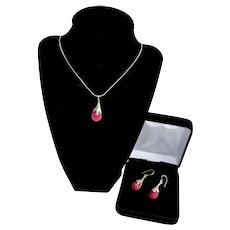 Sterling  Ruby Gemstone Ginkgo Leaf Necklace Pendant Earrings Set