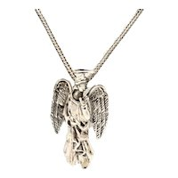 Unisex Embossed Sterling Silver Guardian Angel Brooch / Pendant Necklace