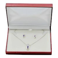Modernist Sterling Silver Amethyst Gemstone Rectangular Pendant Earring Set