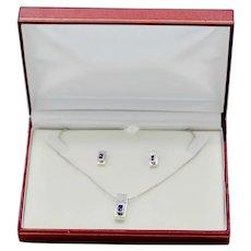 Modernist Sterling Silver Amethyst Gemstone Rectangular Pendant Earring Set
