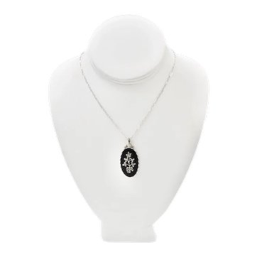 Vintage Art Deco Black Onyx Rhinestone Floral Pendant Necklace