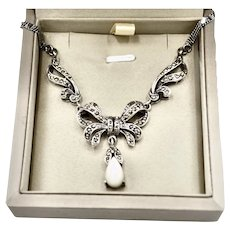Victorian Sterling Marcasite Cat's Eye Pendant Necklace