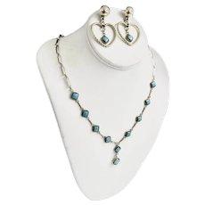 Southwest Sterling 10 Bezel Set Kingman Turquoise Stone Necklace / Earrings