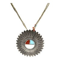 Southwestern Inlaid Feather Pendant Inlaid Coral, Turquoise Necklace