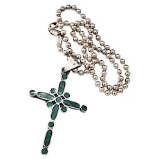 Taxco Mexico Sterling Silver Turquoise Inset Cross Crucifix Pendant Beaded Chain