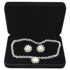 1995 Tiffany & Co Chunky Rare Sterling Silver Sunflower Necklace Earrings