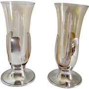 Pair 1930's Tiffany & Co Handblown Amber Glass & Silverplate Trumpet Vase