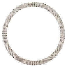 Wide Tiffany & Co Wide Somerset Mesh Link Necklace 87 Grams