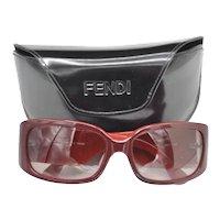 Fendi Designer Sunglasses Two Tone Wine Red Case