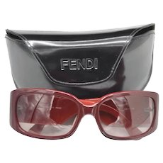 Fendi Designer Sunglasses Two Tone Wine Red Case