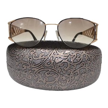 Guy Laroche Vintage Wide Temple Gold-Tone Tinted Sunglasses France