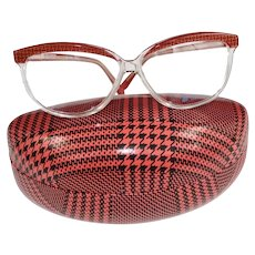 Retro Guy Laroche France Red Gold Houndstooth Brow Eyeglasses