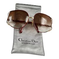 DIOR Bold 80's Burgundy Gold Rim Big Frame Sunglasses