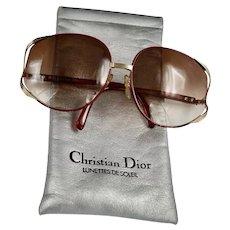 DIOR Bold 80's Burgundy Gold Rim Big Frame Sunglasses