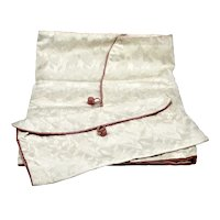 Vintage Lingerie Travel Bag Set (2) Taffeta Brocade Hand-stitched