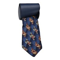 Silk Pierre Balmain Couture Modernist Navy Gold Silk Tie