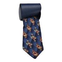 Silk Pierre Balmain Couture Modernist Navy Gold Silk Tie