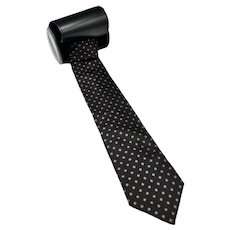 Classic Mens Silk Adolfo Designer Black Dress Necktie