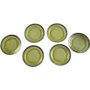 Vintage Green Vaseline (Uranium) Glass Coaster Set (6)