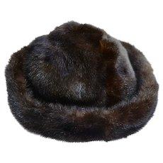 Luxurious Bonwit Teller Black / Brown Mink Hat Bolo Brim