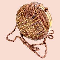 Designer Mary McFadden Evening Clam Shell Decorative Glass Beaded Handbag