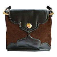 Vintage Christian Lacroix Handbag Brown Suede Leather Satchel Large Tote Italy