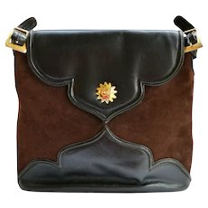 Vintage Christian Lacroix Handbag Brown Suede Leather Satchel Large Tote Italy