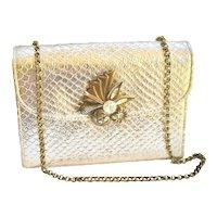 Vintage Harry Levine Rose Gold Metallic Embossed Evening Handbag Chain 1960s