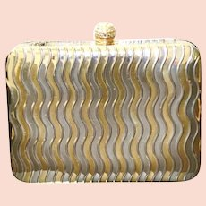 Cache Evening Clutch Metal Gold Silver Modernist Rhinestone Clasp Small Handbag
