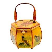 1970's Wood Lacquered Decoupage Spring Bird Handbag Signed