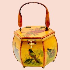 1970's Wood Lacquered Decoupage Spring Bird Handbag Signed