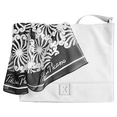 Italy Paloma Picasso White Tote Large Geometric Black White Scarf