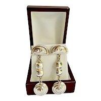 Modernist Sterling Silver Earrings Diva Long Dangle Artisan Pierced