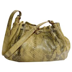 Handbag Francesco Biasia ITALY Natural Tan Black Snakeskin Satchel Hobo Large