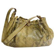 Handbag Francesco Biasia ITALY Natural Tan Black Snakeskin Satchel Hobo Large
