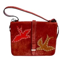 Valentino Garavani Red Handbag Suede Grommet Applique Designer Purse